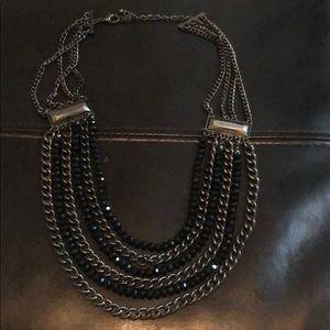 Vintage Metal & Black Beaded Multi Strand Necklace
